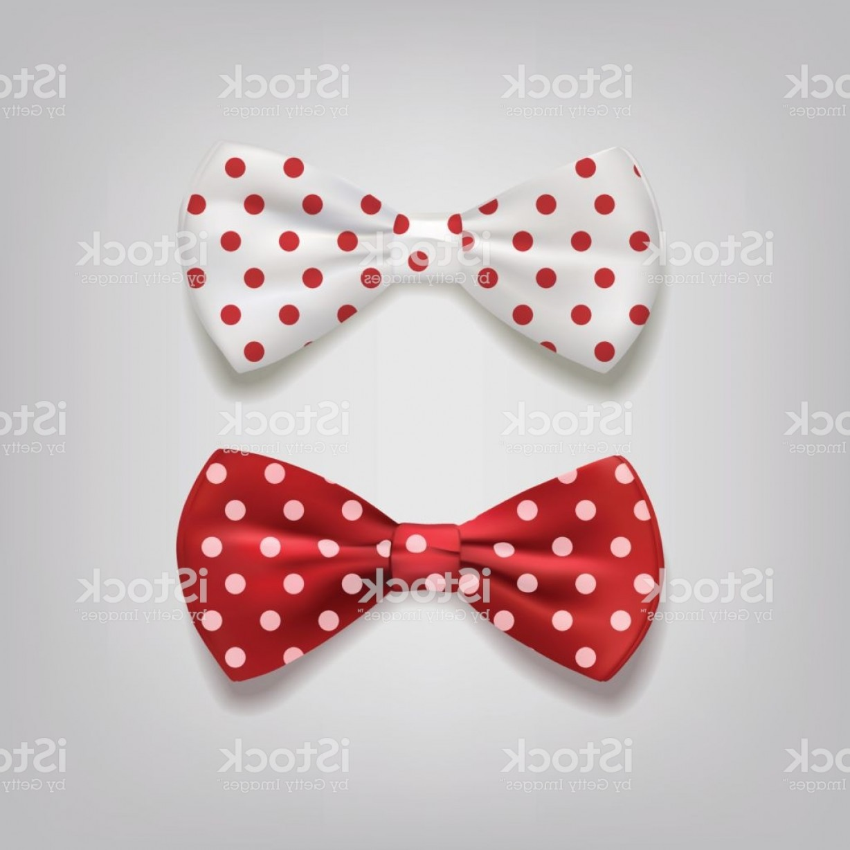 Vector Jeweled Dog Collar: Bow Ties Polka Dots Isolated On Gray Background Vector Illustration Gm