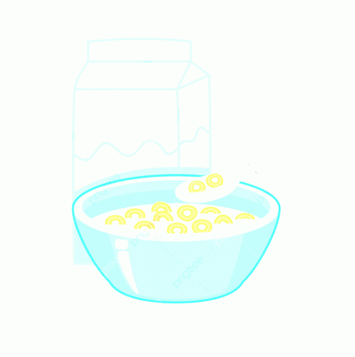 Vector Cereal Nutrition: Bowl Of Cereal And A Box Of Milk Vector Illustration Isolated On White Background