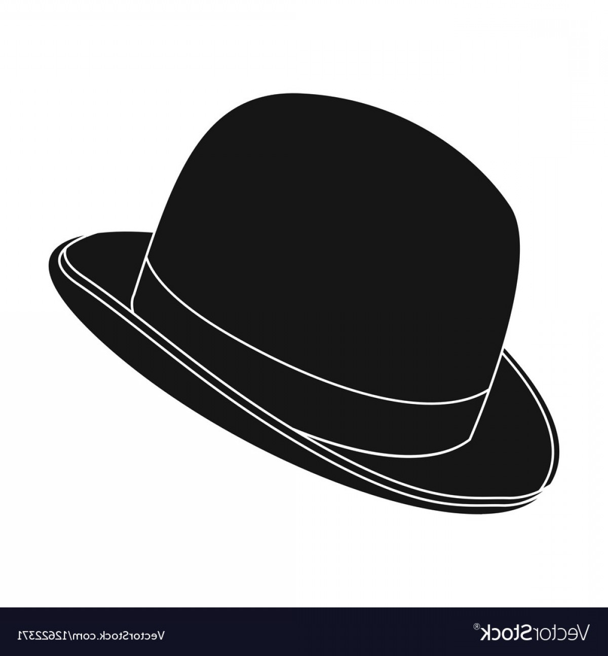 Bowler Hat Vector: Bowler Hat Icon In Black Style Isolated On White Vector