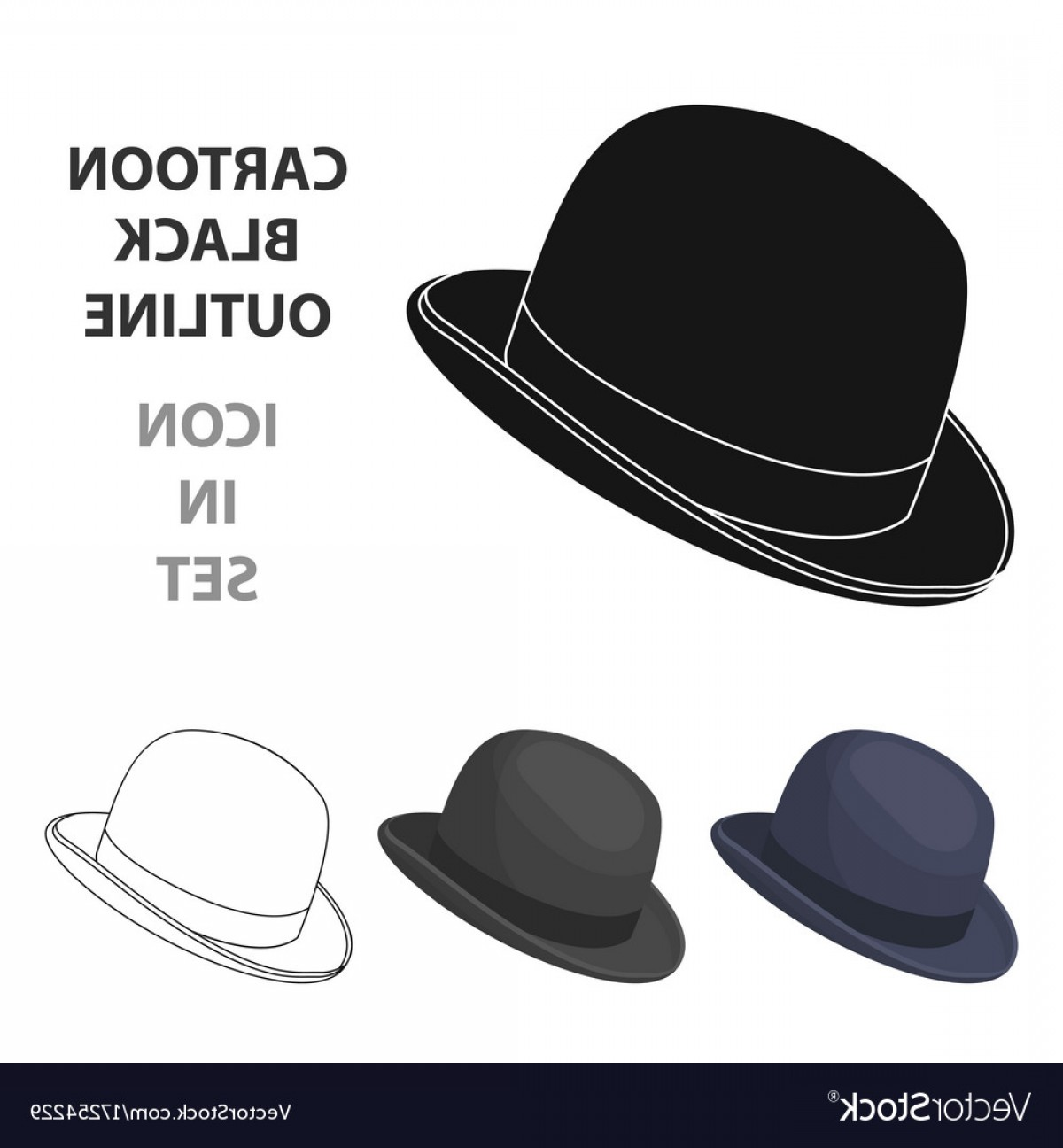 Bowler Hat Vector: Bowler Hat Icon In Cartoon Style Isolated On White Vector