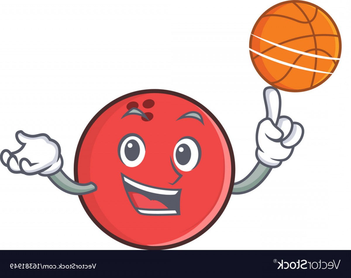 Cartoon Basketball Vector: Bowling Ball Character Cartoon Playing Basketball Vector