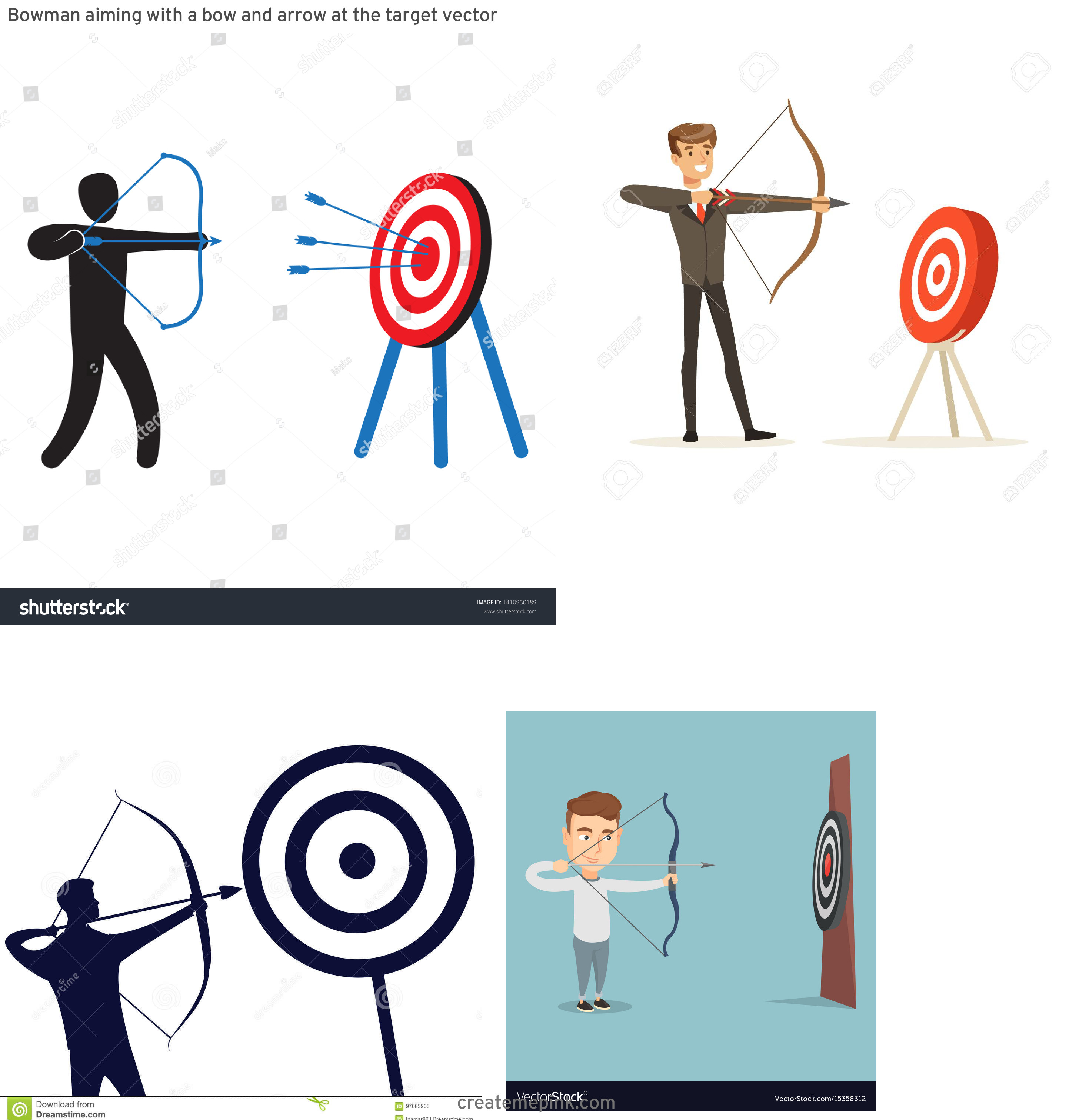 Target Bow And Arrow Vector: Bowman Aiming With A Bow And Arrow At The Target Vector