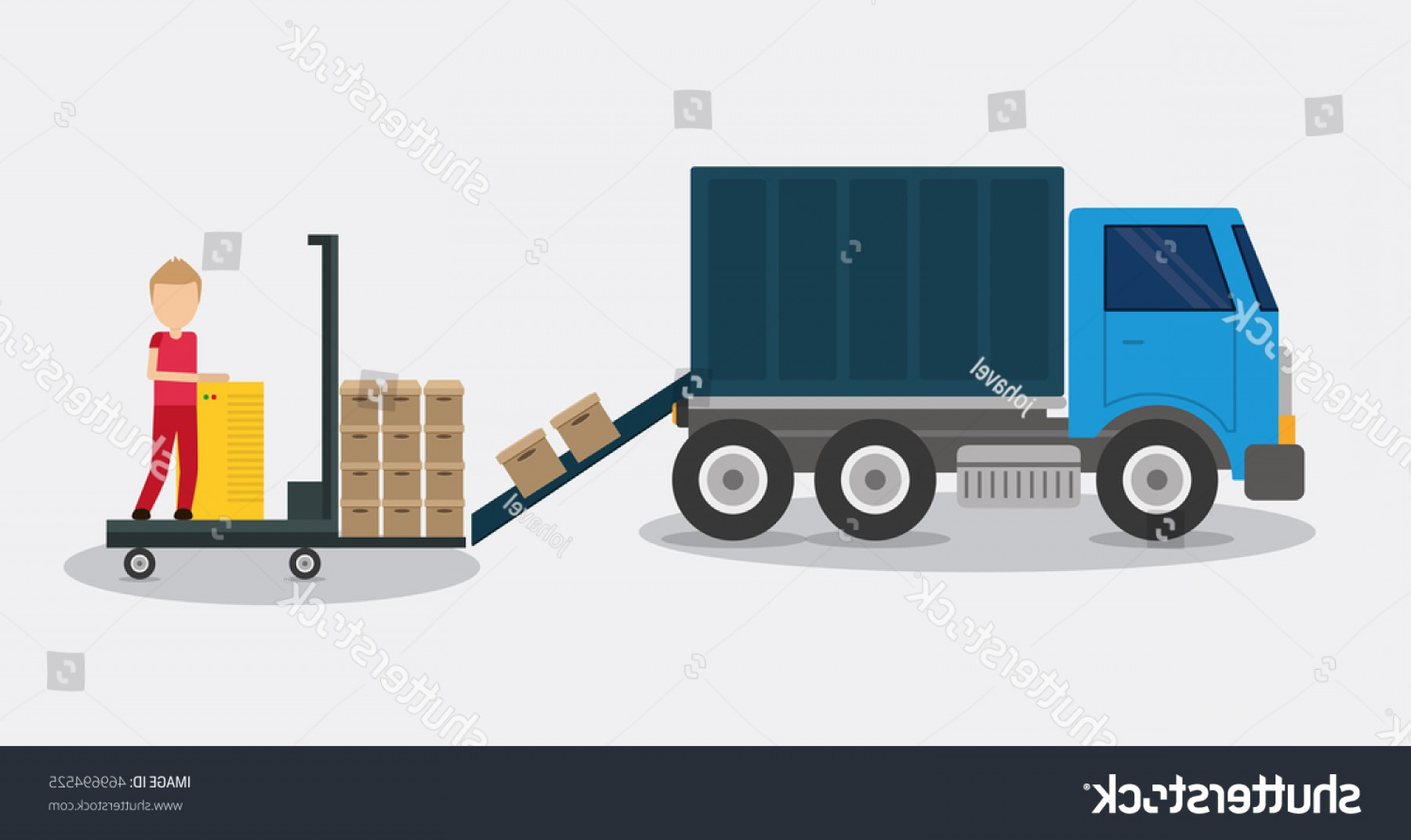 Packages On A Truck Vector: Box Package Truck Man Delivery Shipping
