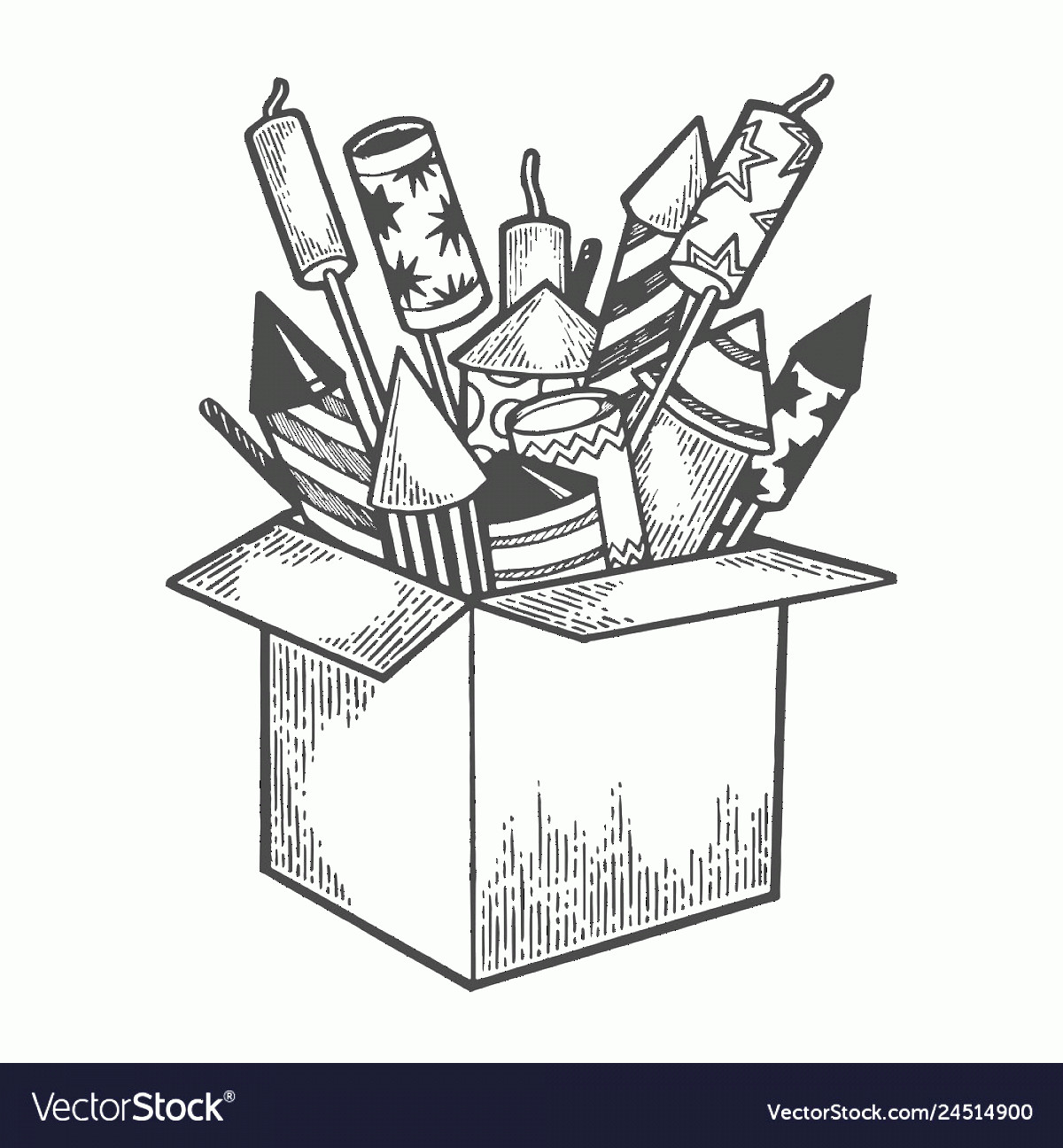 Firework Engraving Vector: Box With Fireworks Sketch Engraving Vector