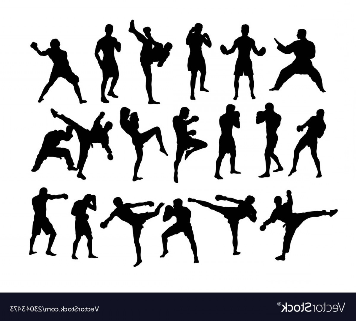 UFC Kick Vector: Boxing And Competition Silhouettes Vector