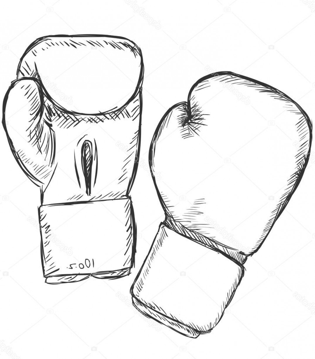 Pink Boxing Gloves Vector: Boxing Glove Drawing Vector Sketch Boxing Gloves  Stock Vector Nikiteev