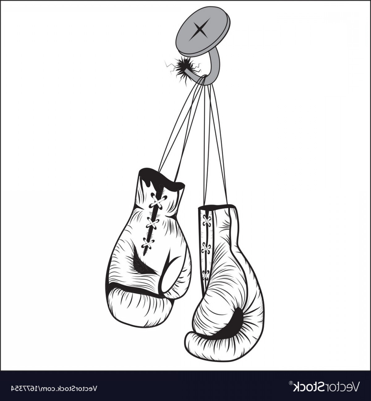 Pictures Of Boxing Gloves Vector Art: Boxing Gloves Hang With Laces Nailed To Wall Vector