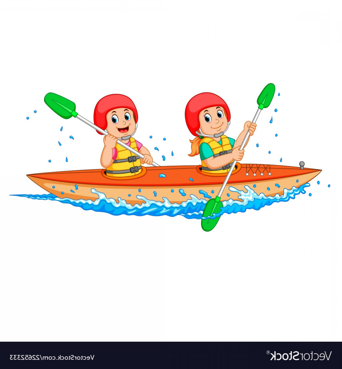 Canoe Vector: Boy And Girl Paddling With Canoe Vector