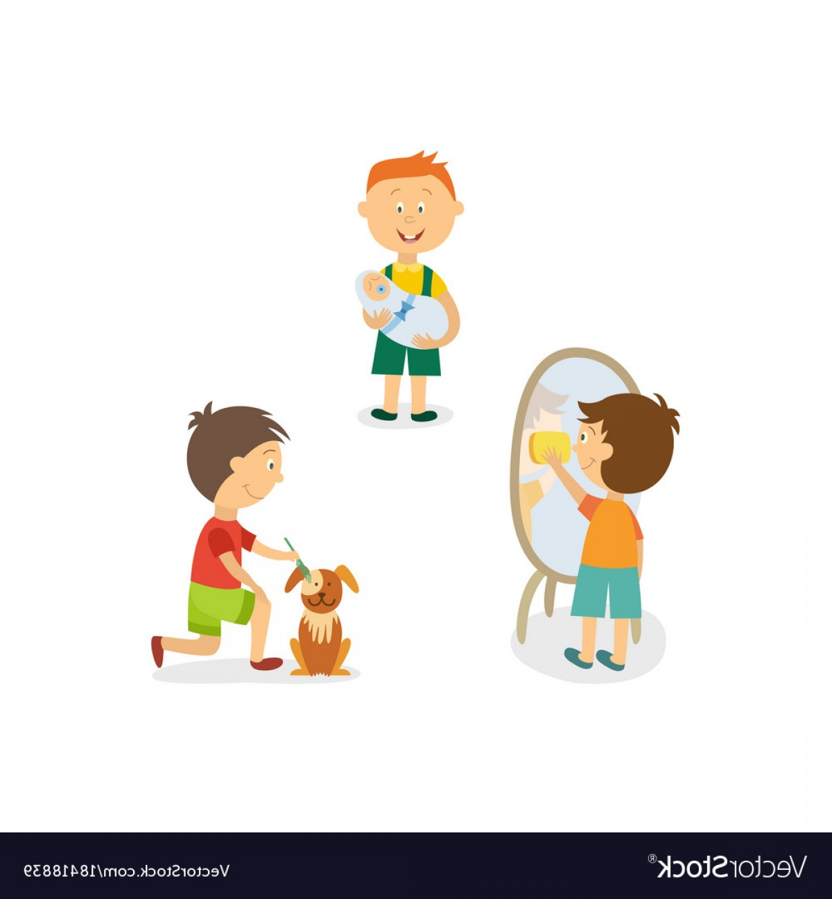 Babysitting In Diapers Vector Black: Boy Babysitting Cleaning House Grooming His Dog Vector