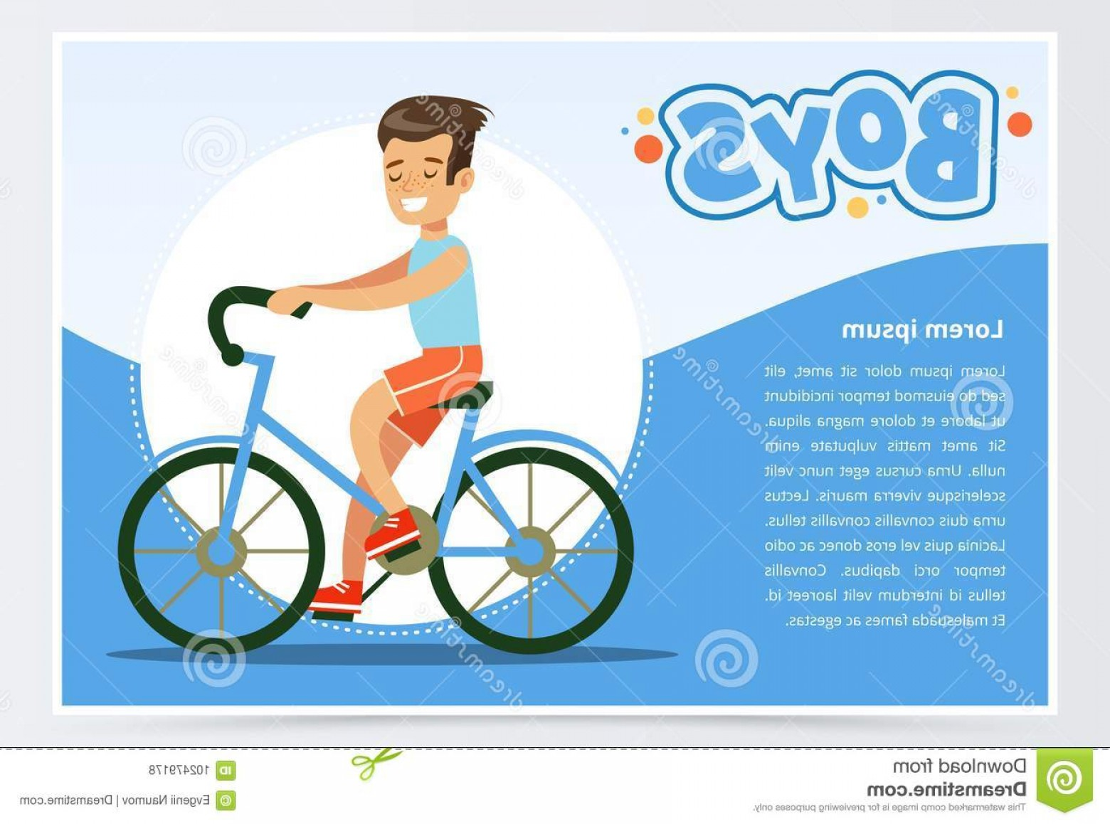 Indoor Cycling Bike Vector: Boy Cycling Bicycle Boys Banner Advertising Brochure Promotional Leaflet Poster Presentation Flat Vector Boy Cycling Image
