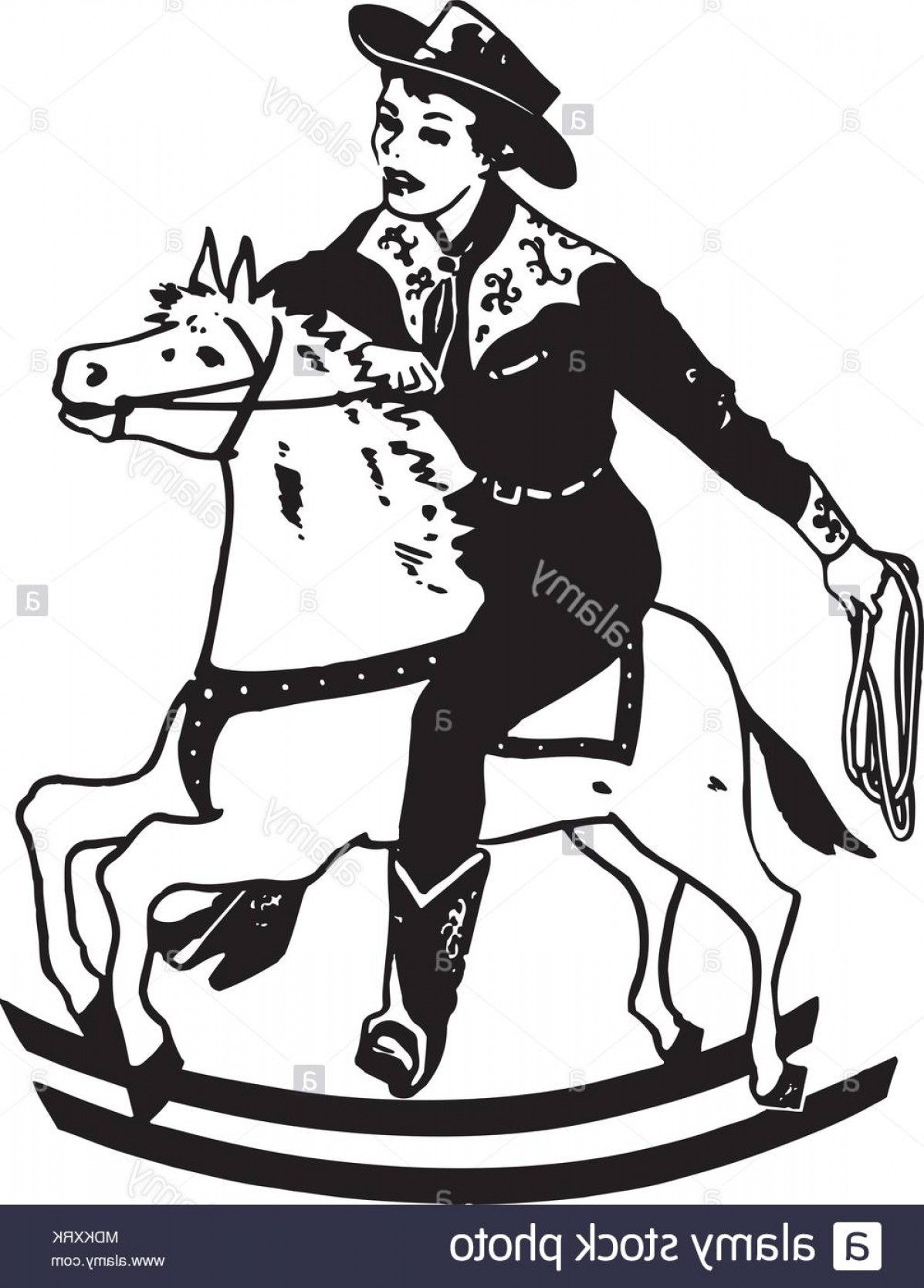 Barrel Racer Vector: Boy On Rocking Horse Retro Clipart Illustration Image