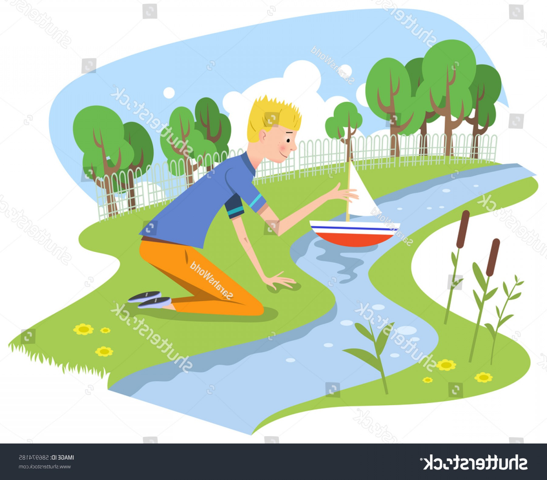 Creek Vector: Boy Playing Model Boat Shallow Creek