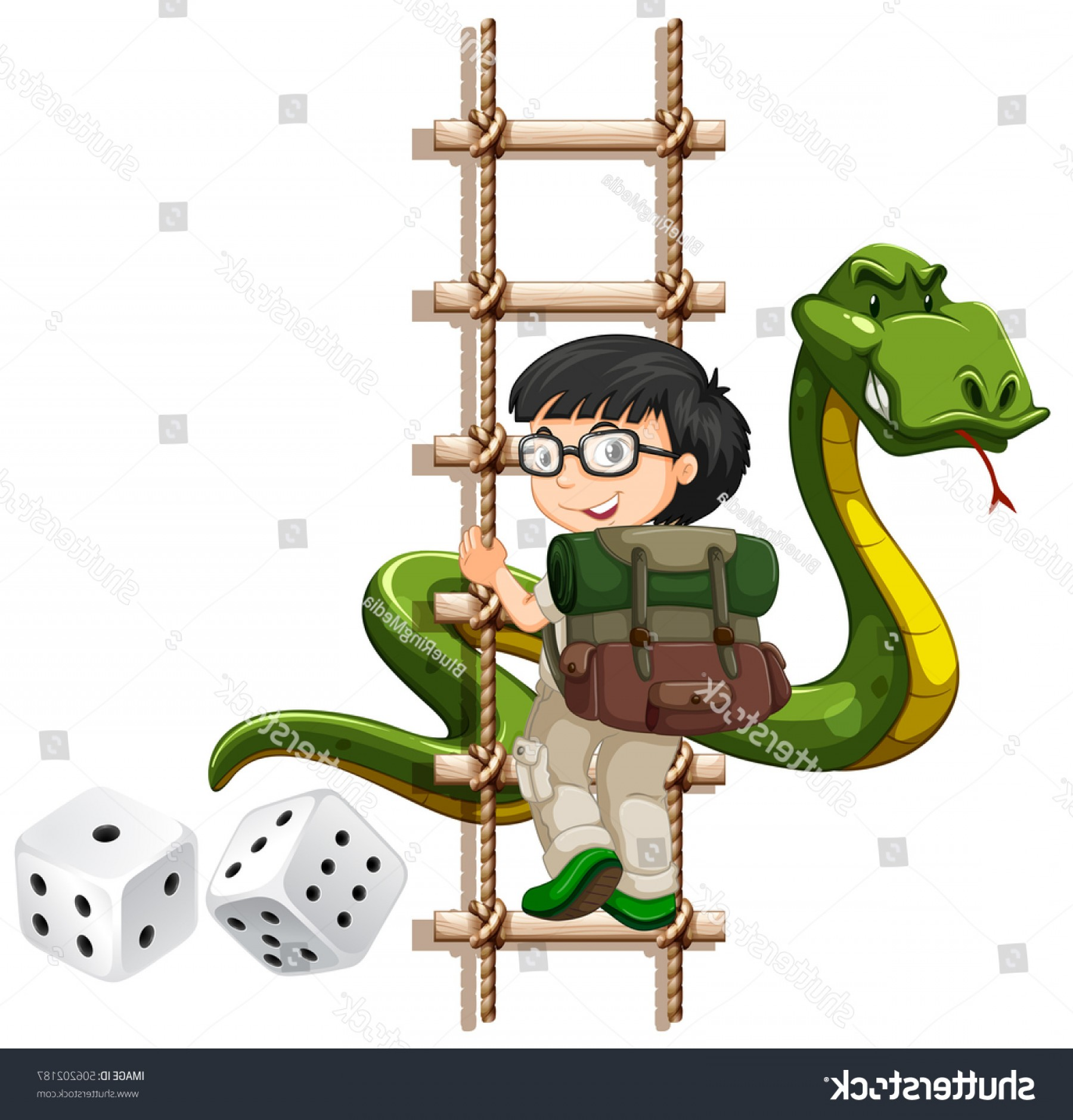 Climbing Army Vector: Boy Snake Climbing Ladder Illustration