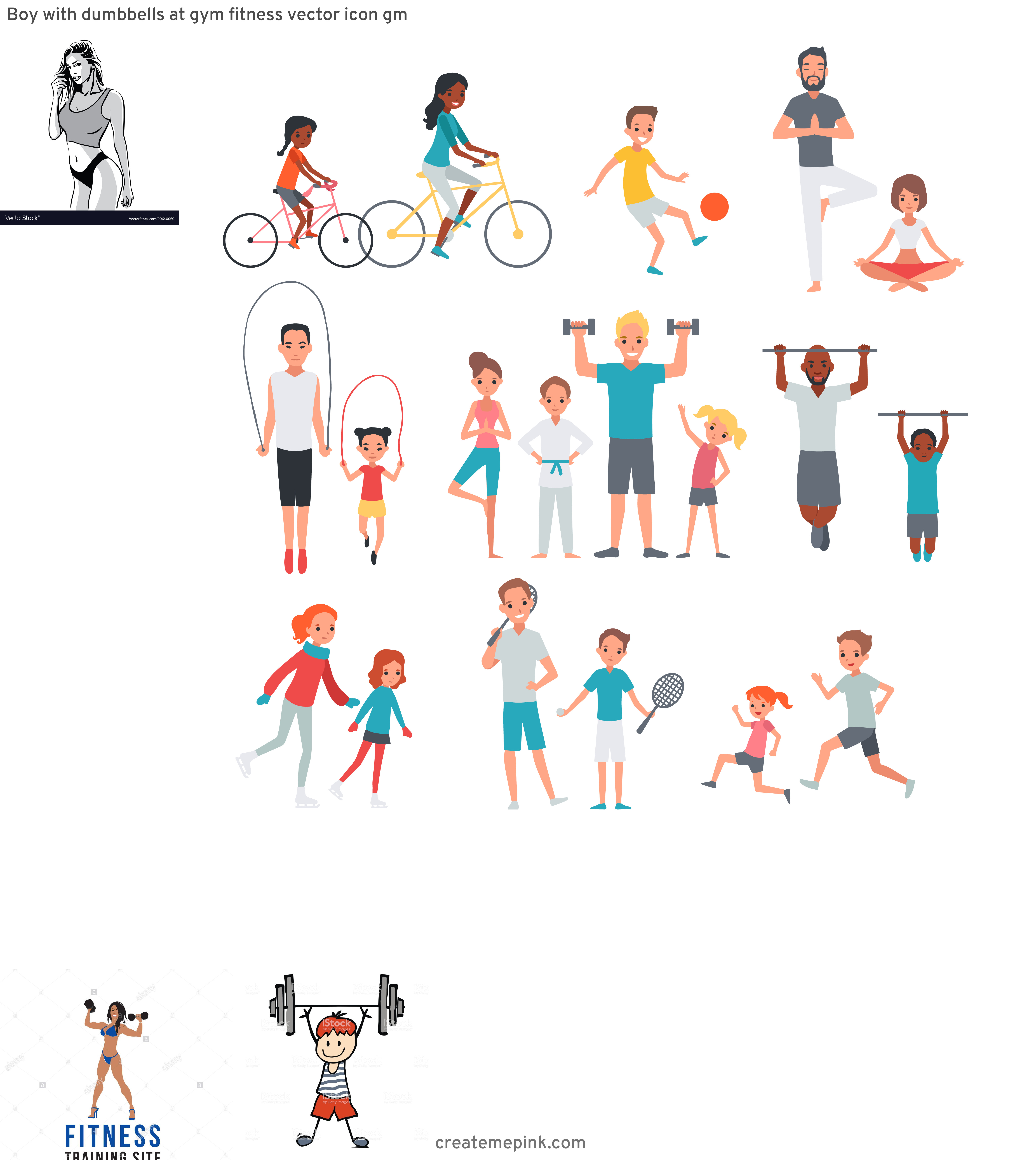 Fitness Vector Art: Boy With Dumbbells At Gym Fitness Vector Icon Gm