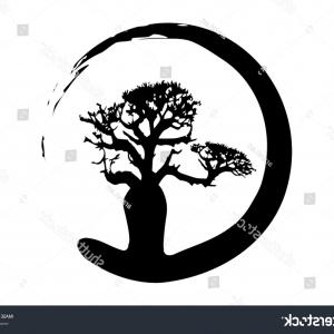 Sapling Vector Tree Silhouette Art: Trees Hand Drawn Vintage Engraved Illustration