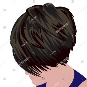 Vector Bob Haircut: Bob Hairstyle Beautiful Woman Portrait In Black Vector