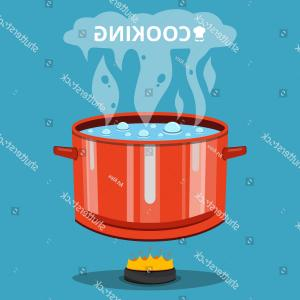 Big Cook With Cooking Pot Vector: Boiling Water Pan Cooking Pot On
