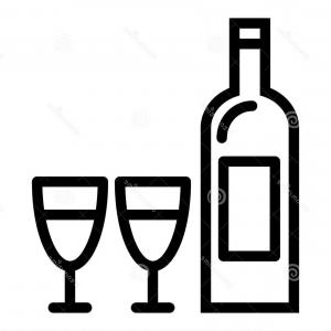 Wine Bottle Vector Line Art: Bottle Wine Two Glasses Line Icon Wine Bottle Vector Illustration Isolated White Glass Outline Style Design Bottle Image