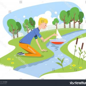Creek Vector: Stock Photo Illustration Of A Fox Drinking From River Creek Set Inside Square