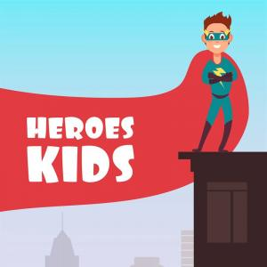 Superman City Vector: Boy Superhero With Red Cloak Over The City Buildings Vector Super Kids