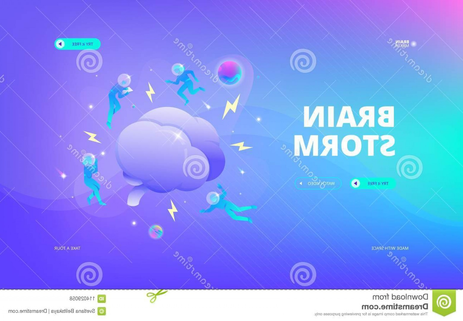 The Storm Vector Layout System: Brain Storm Web Banner Vector Illustration Developers Spacesuits Floating Around Big Space Hero Image Design Concept Image