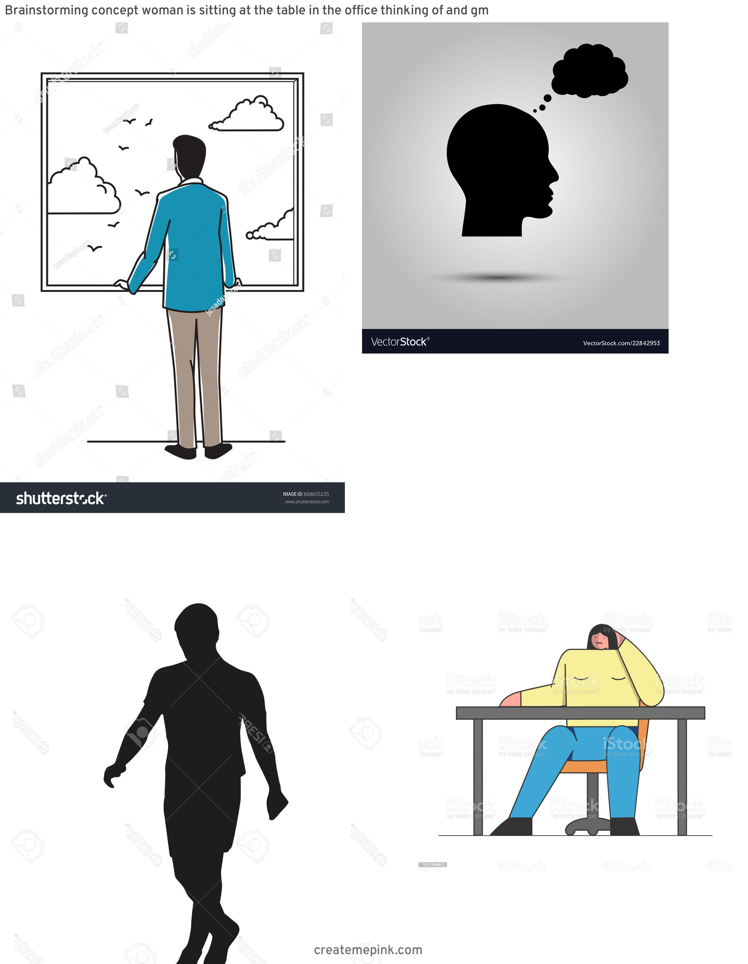 Person Thinking Outline Vector: Brainstorming Concept Woman Is Sitting At The Table In The Office Thinking Of And Gm