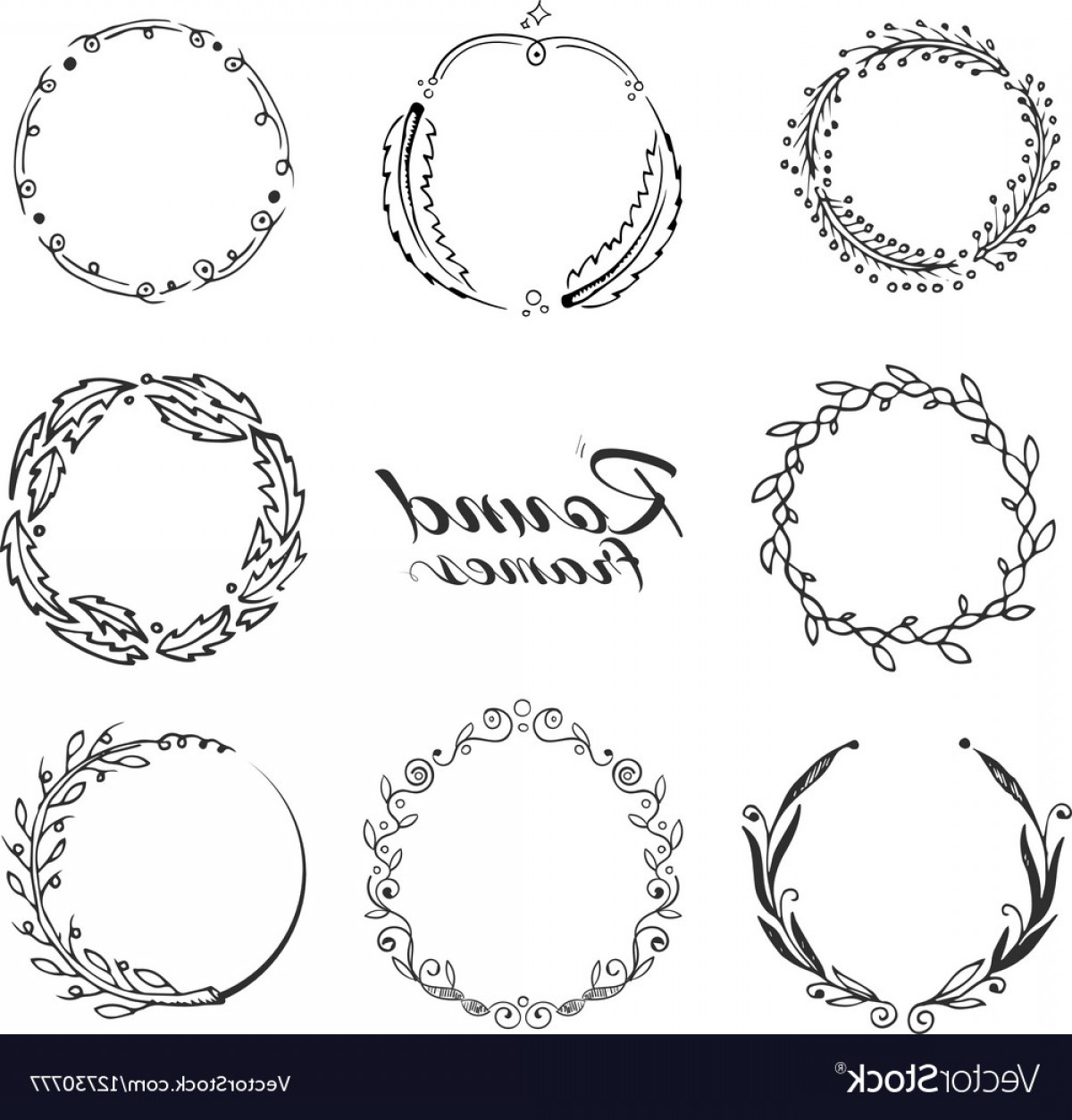 Wreath Circle Logo Vector: Branch With Leaves Laurel Wreath Floral Circle Vector