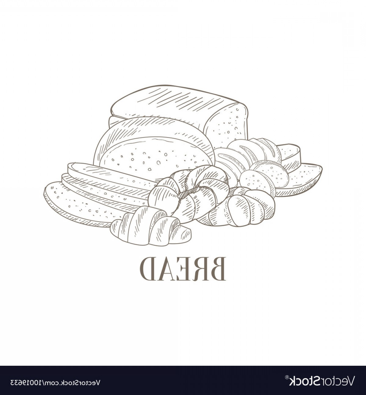 Bread Of Life Vector Art: Bread And Pastry Still Life Hand Drawn Realistic Vector
