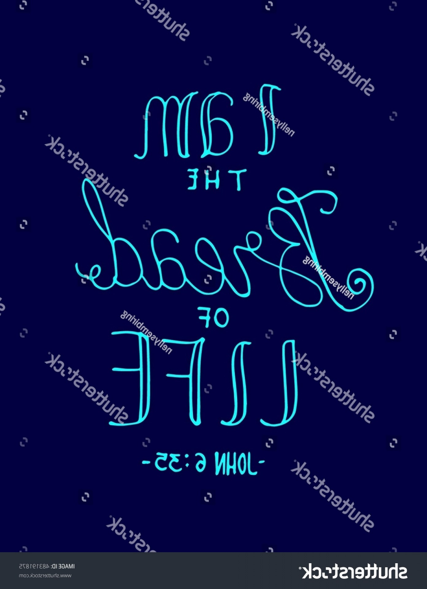Bread Of Life Vector Art: Bread Life Hand Lettered Quote Bible