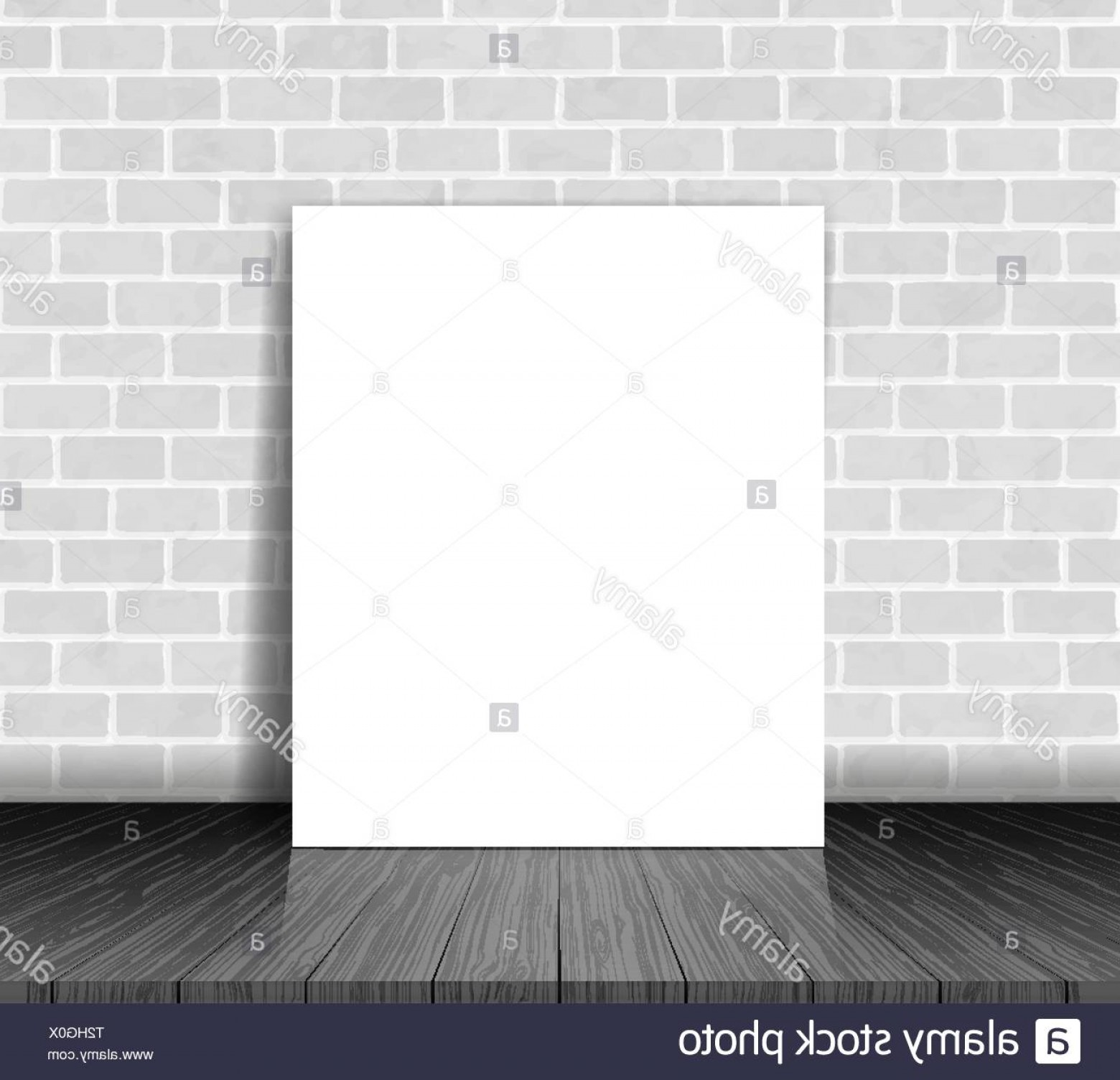 Vector Black Wood Floor: Brick Wall With White Paper Sheet On Wood Floor Vector Image