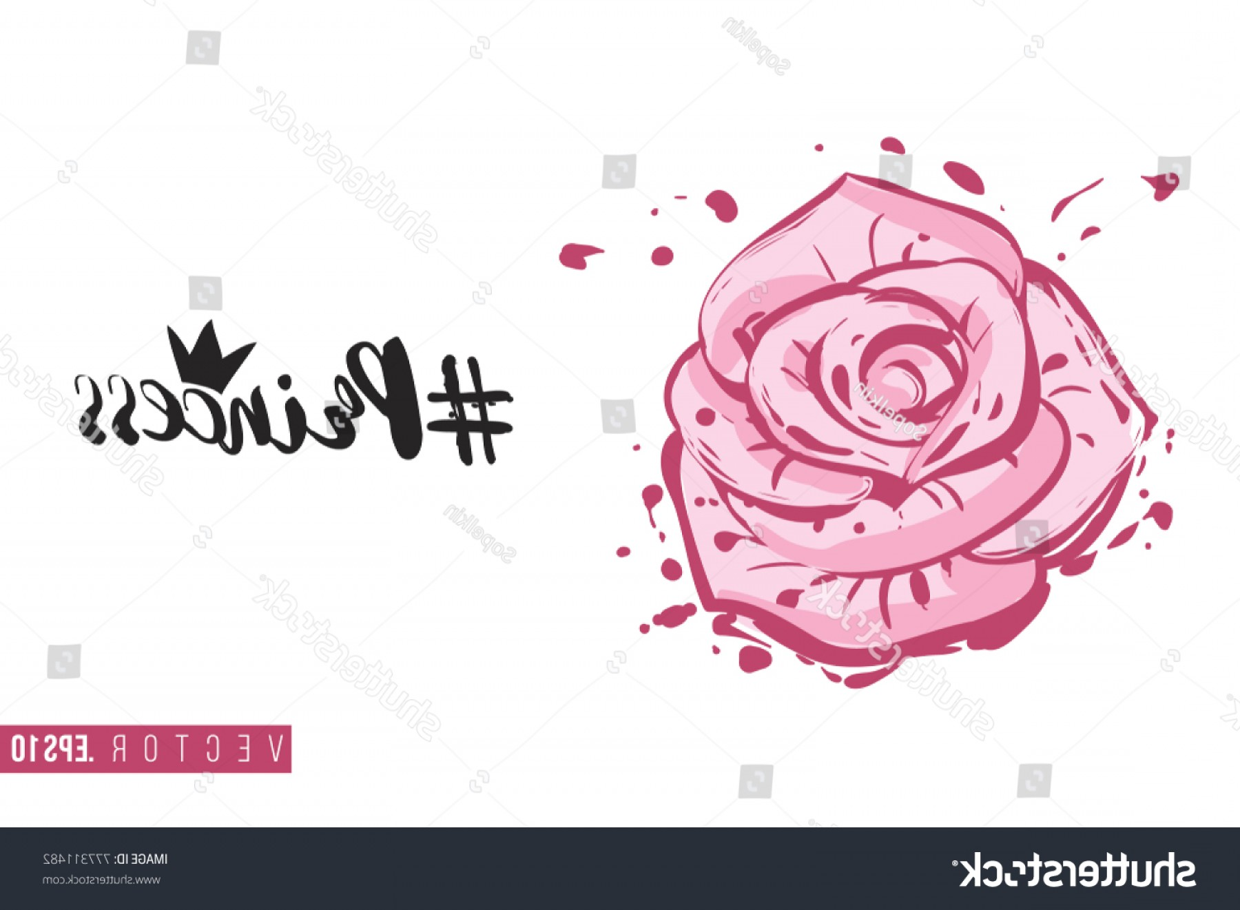 Hashtag Rose Vector: Bridal Greeting Card Rose Flower Text