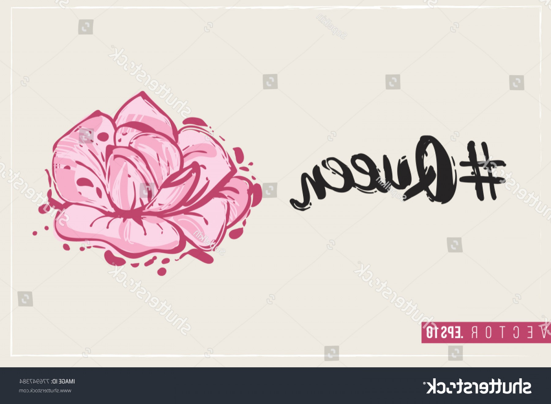 Hashtag Rose Vector: Bridal Greeting Card Rose Text Queen