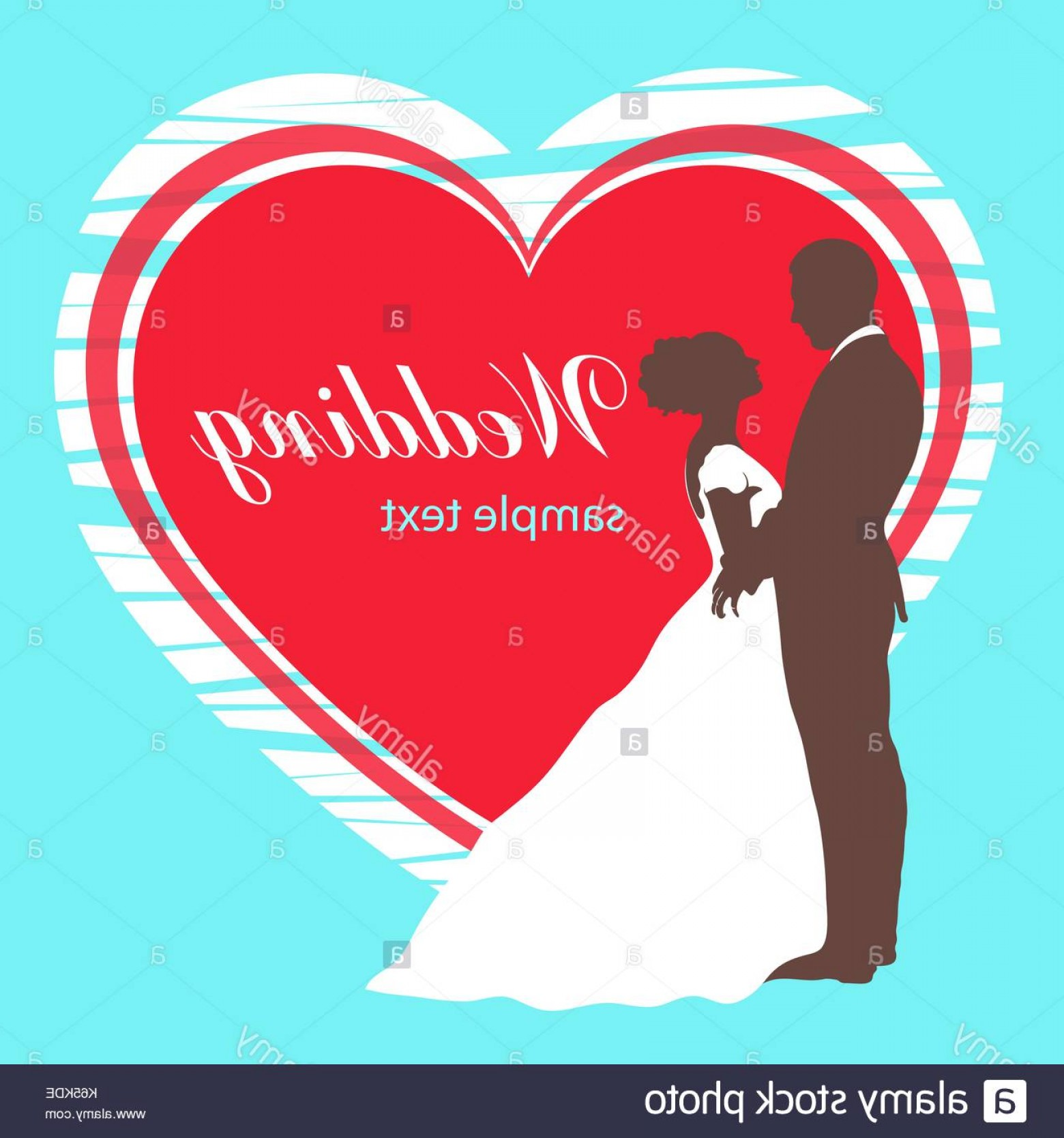 Card Suits Vector Outlines: Bride And Groom Silhouette Wedding Invitation Card Vector Outline Image