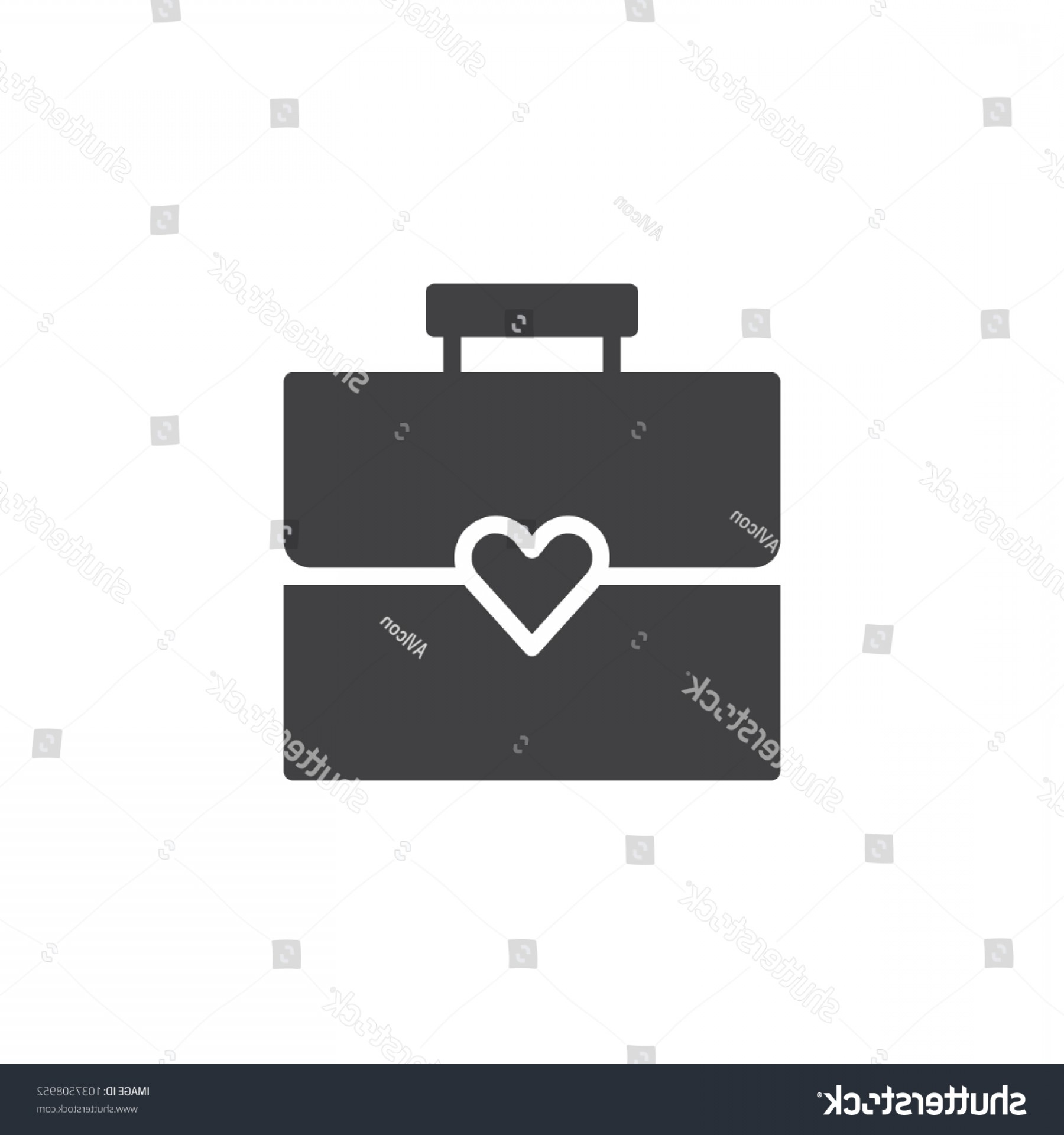 Solid Heart Vector Drawing: Briefcase Heart Vector Icon Filled Flat