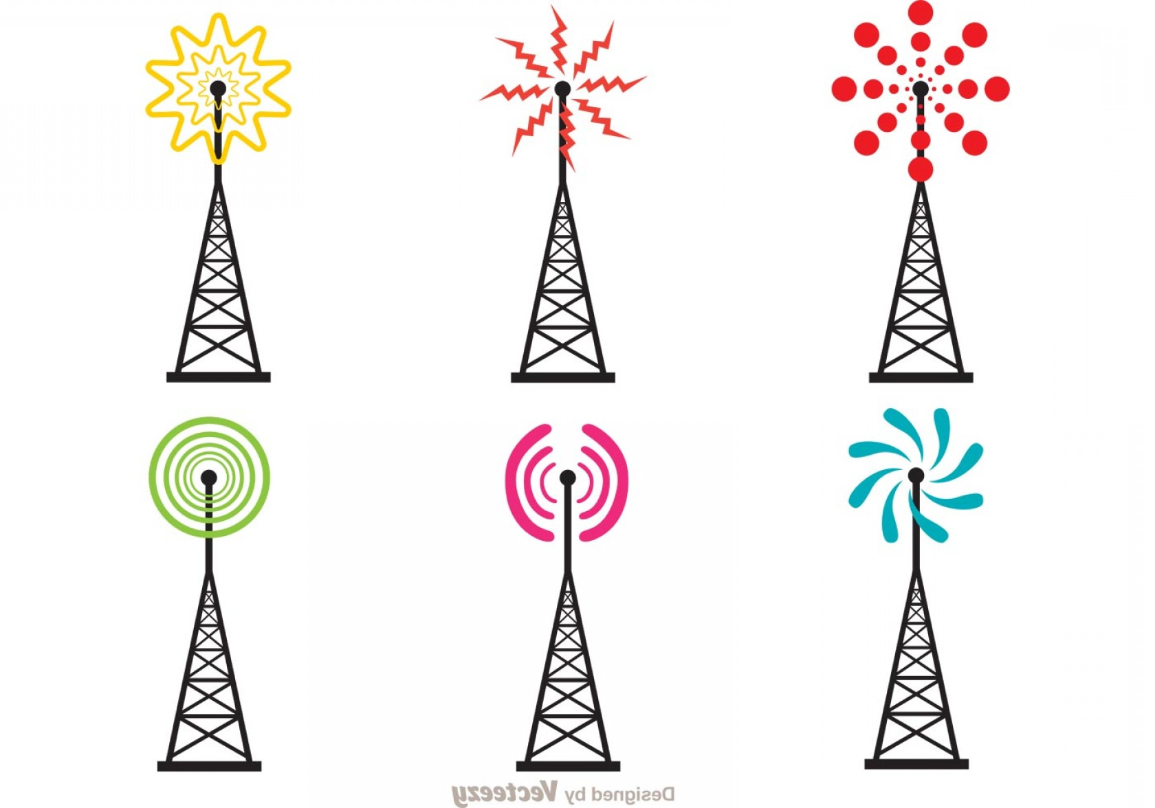 Vector Phone Tower: Bright Cell Tower Vector Pack