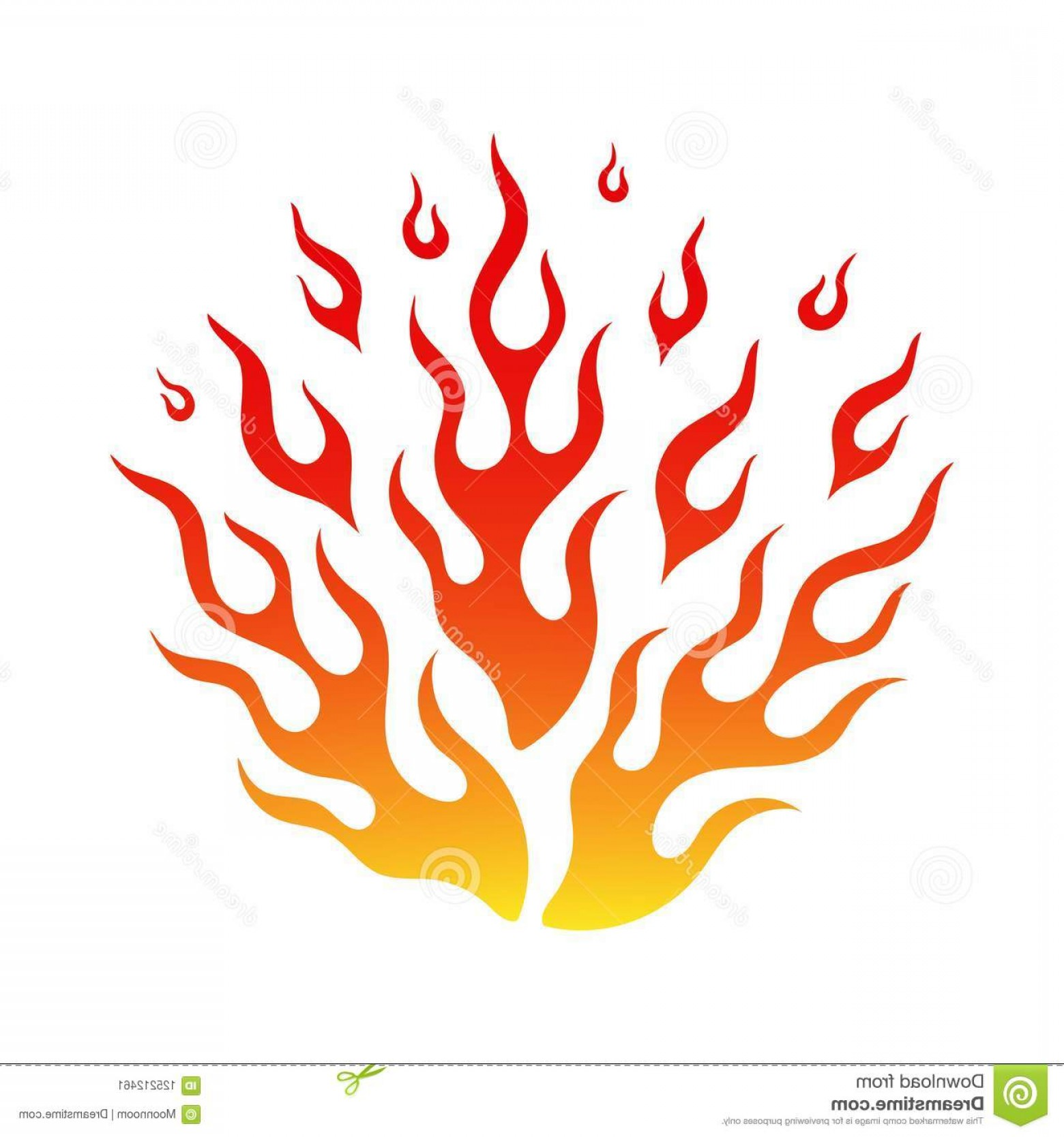 Cartoon Fire Flames Vector: Bright Fire Flame Cartoon Bonfire Hot Tattoo Flammable Emblem Flames Blaze Yellow Orange Red Colors Isolated White Image