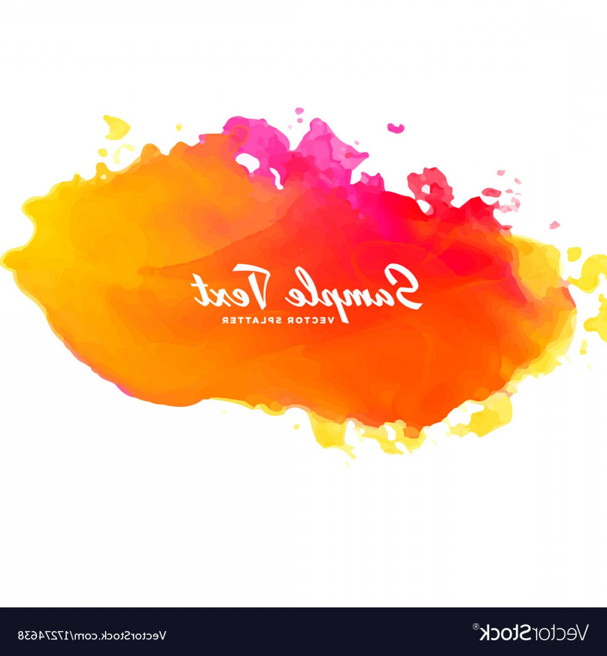 Orange Watercolor Vector Free: Bright Pink Orange Watercolor Splash Background Vector
