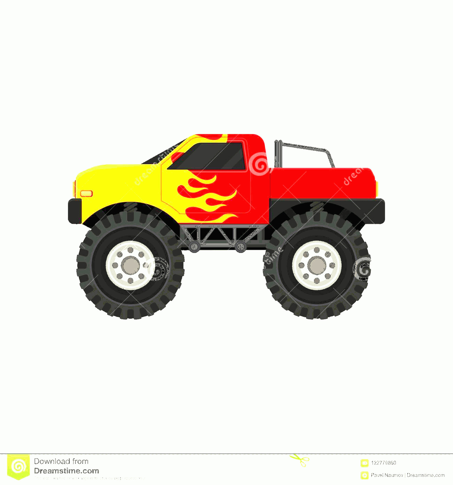 Monster Truck Tires Vector: Bright Red Monster Truck Yellow Flame Decal Heave Car Large Tires Black Tinted Windows Automobile Theme Cartoon Style Image