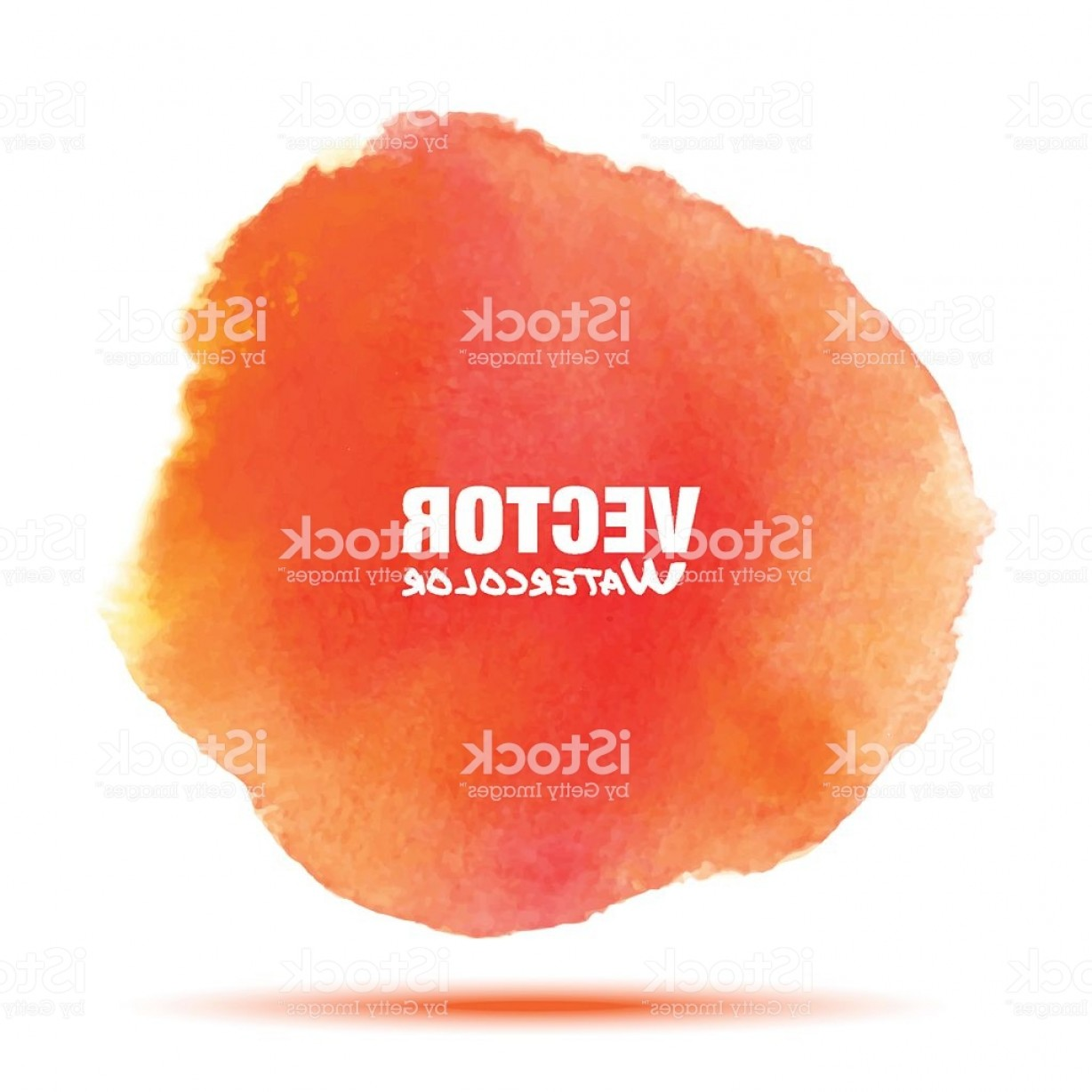 Orange Watercolor Vector Free: Bright Red Orange Transparent Watercolor Vector Stain Gm