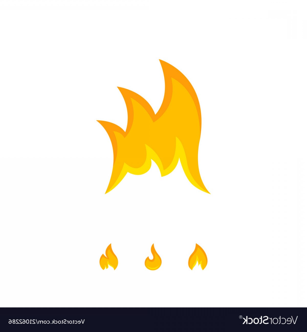 Vector Flame Stick Pattern: Bright Tongues Of Icon Flame On White Vector