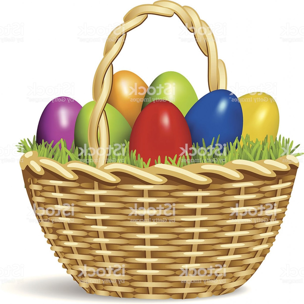 Vector Easter Egg Basket: Brightly Colored Cartoon Of Easter Eggs In A Basket Gm