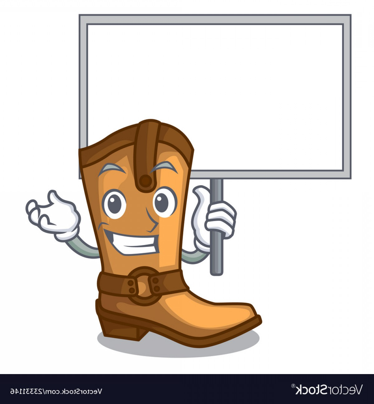 Two Cowgirl Boots Vector: Bring Board Cowboy Boots In The Shape Cartoon Vector