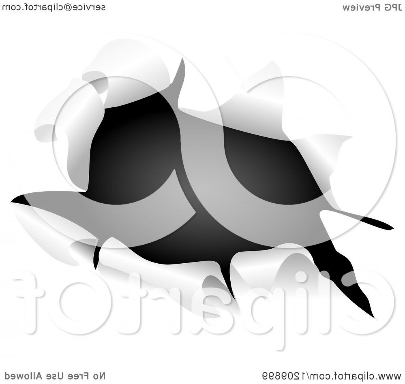 Ripped Black And White Vector: British Flag Through A Ripped Hole
