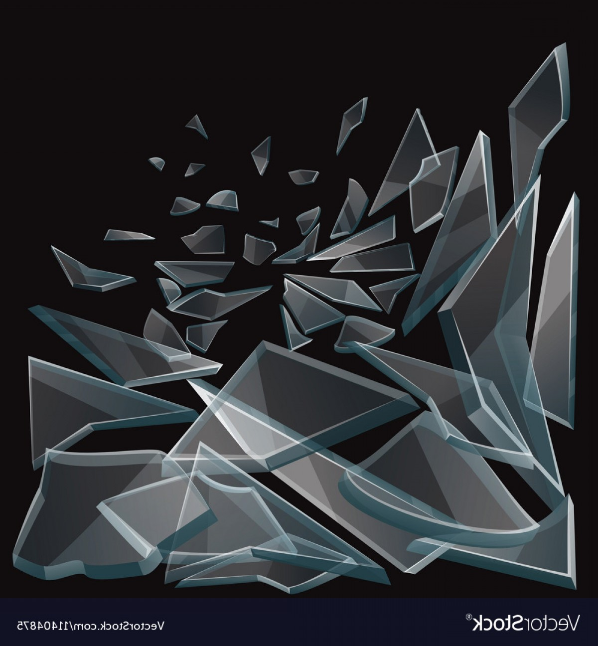 Vector Broken Pieces: Broken Glass Pieces Flow Vector