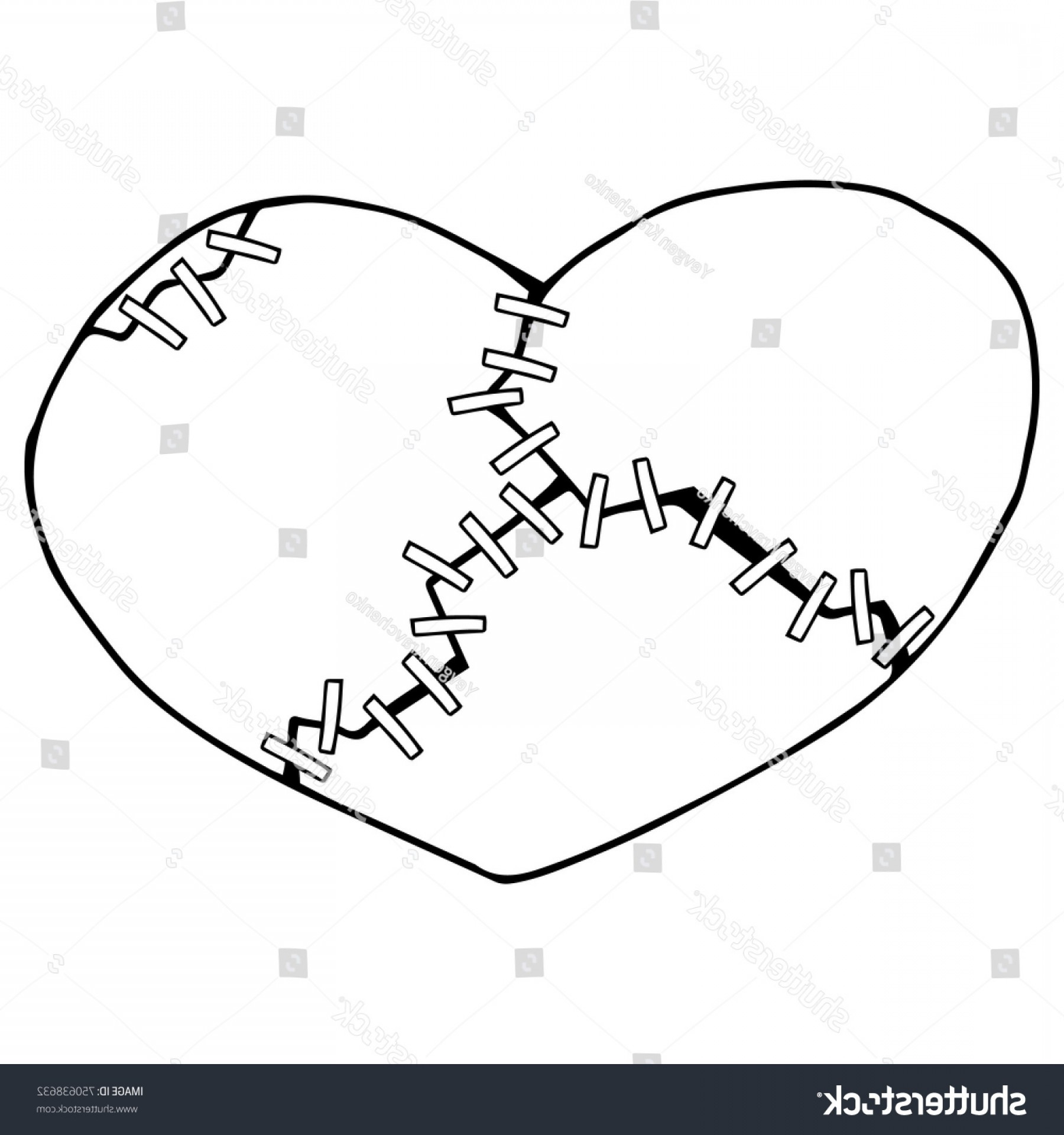 White Staples Vector Logo: Broken Heart Several Pieces Collected Help