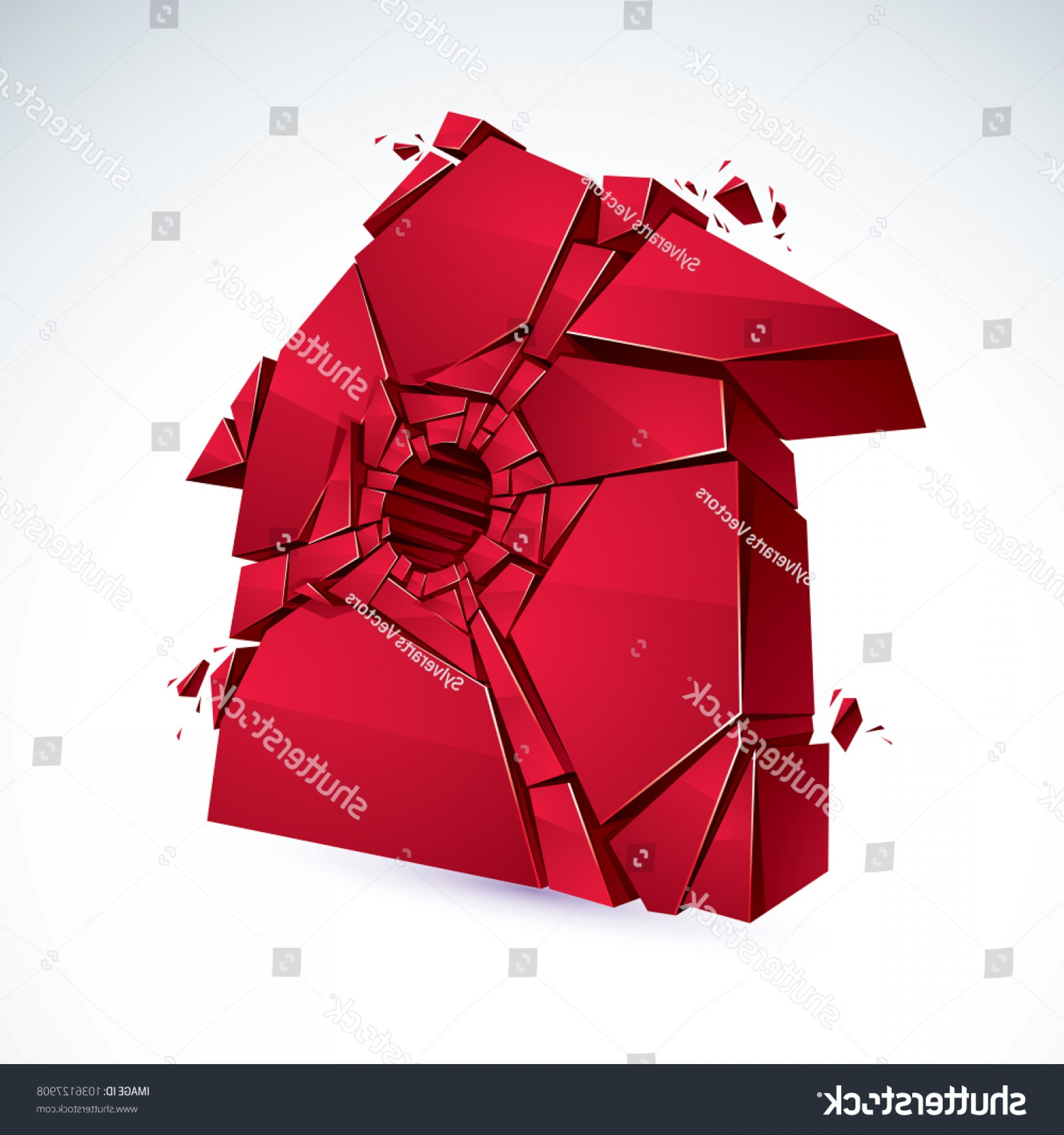 Vector Broken Pieces: Broken Home Concept House Pieces Vector