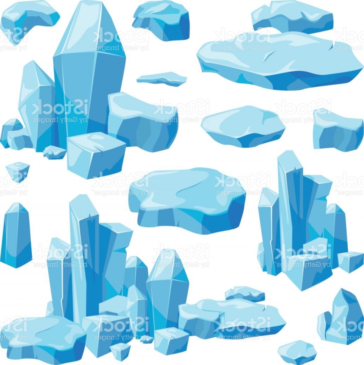 Vector Broken Pieces: Broken Pieces Of Ice Game Design Vector Illustrations In Cartoon Style Gm