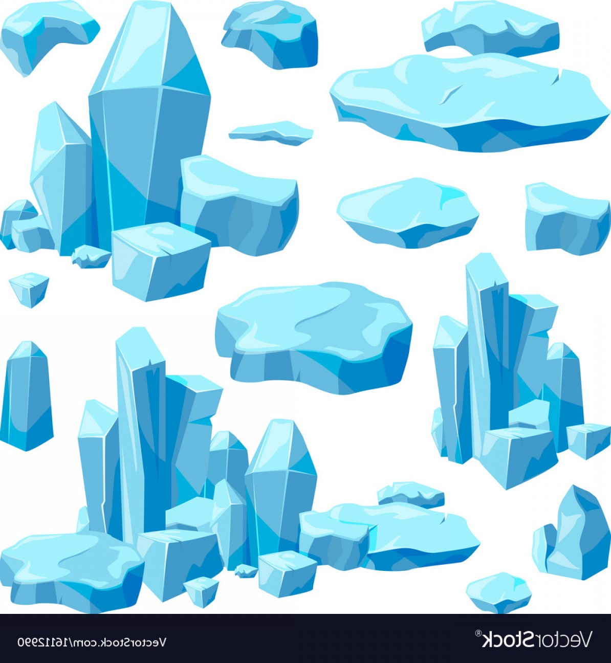 Vector Broken Pieces: Broken Pieces Of Ice Game Design Vector