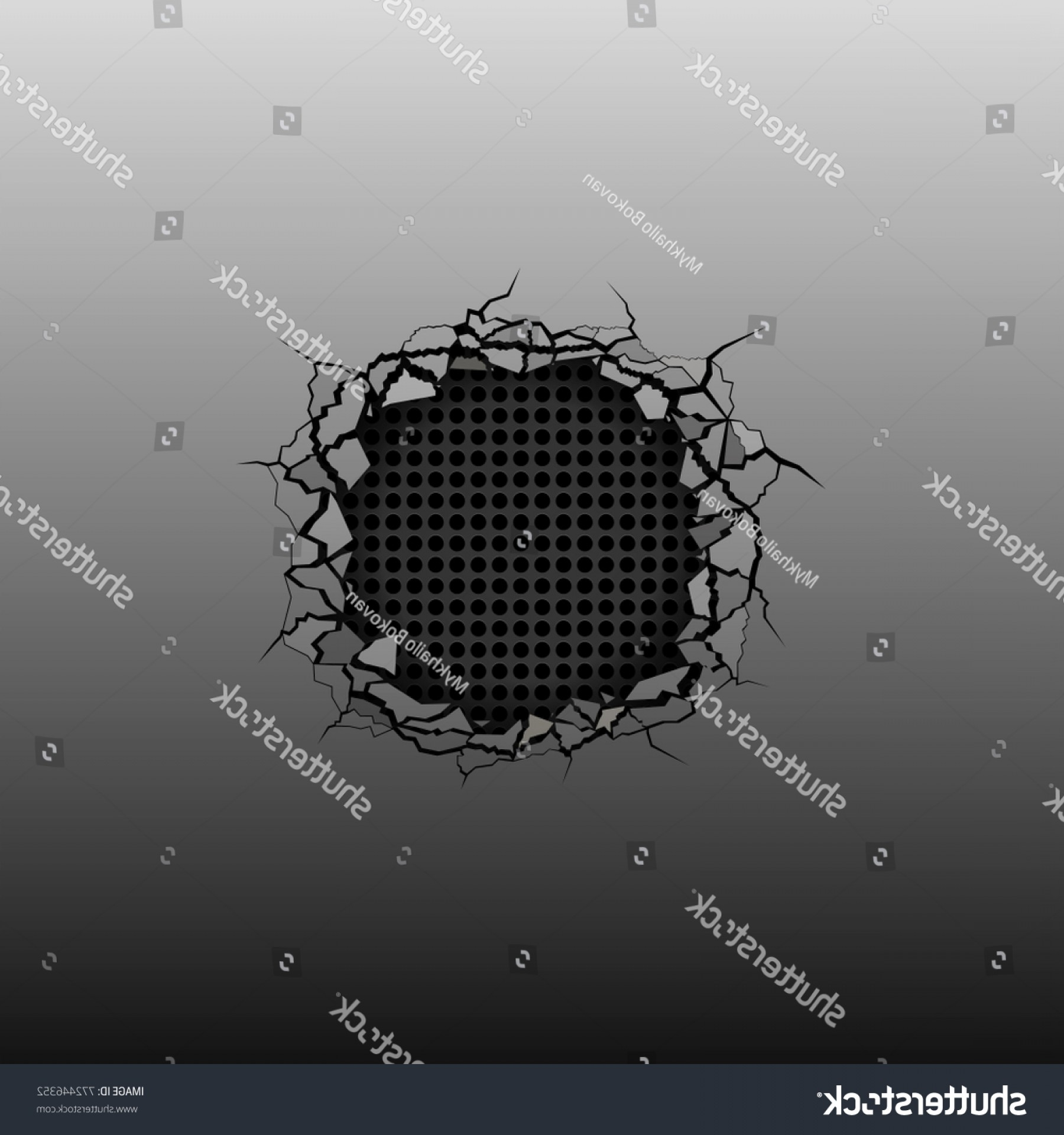 Vector Broken Pieces: Broken Silver Metal Background Texture Hole