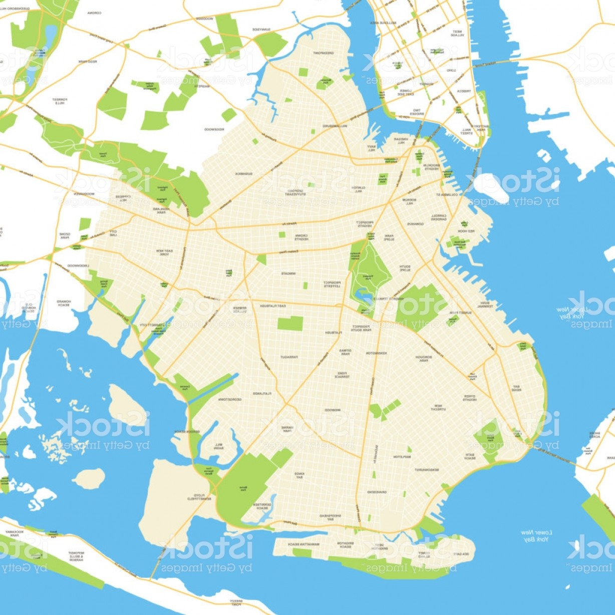 Midtown East Map Vector: Brooklyn New York City Map Vector Illustration Gm